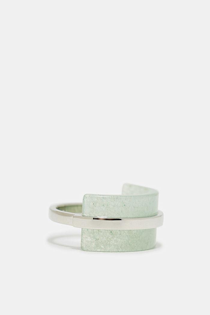 Edelstahl-Ring mit Stein in Jade-Optik