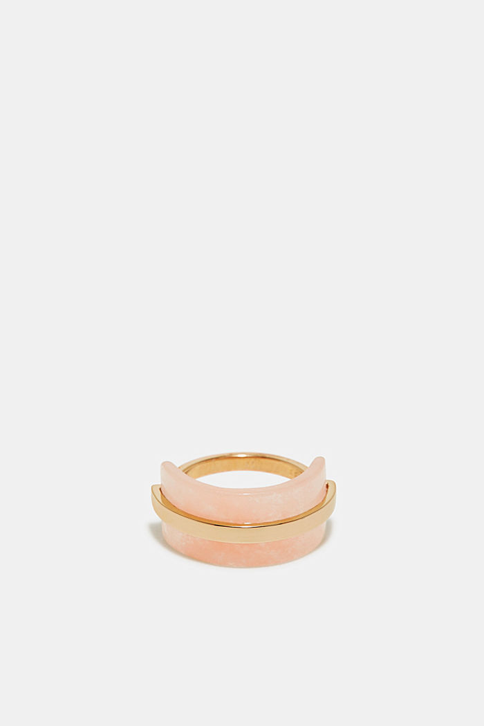 Edelstahl-Ring mit Stein in Rosenquartz-Optik