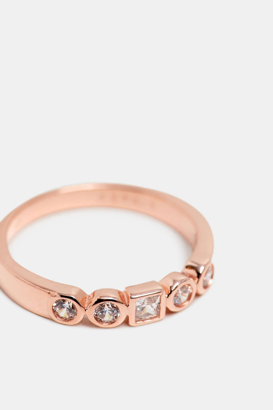 Zirconia ring, sterling silver, ROSEGOLD, detail image number 1