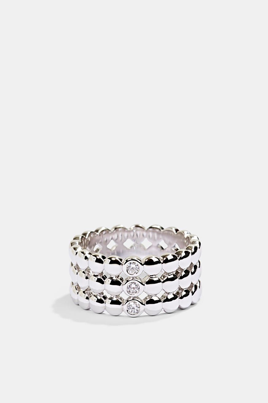 Sterling silver ring trimmed with zirconia