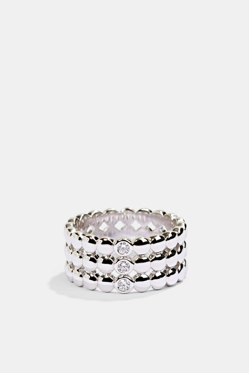 Sterling silver ring trimmed with zirconia, SILVER, detail
