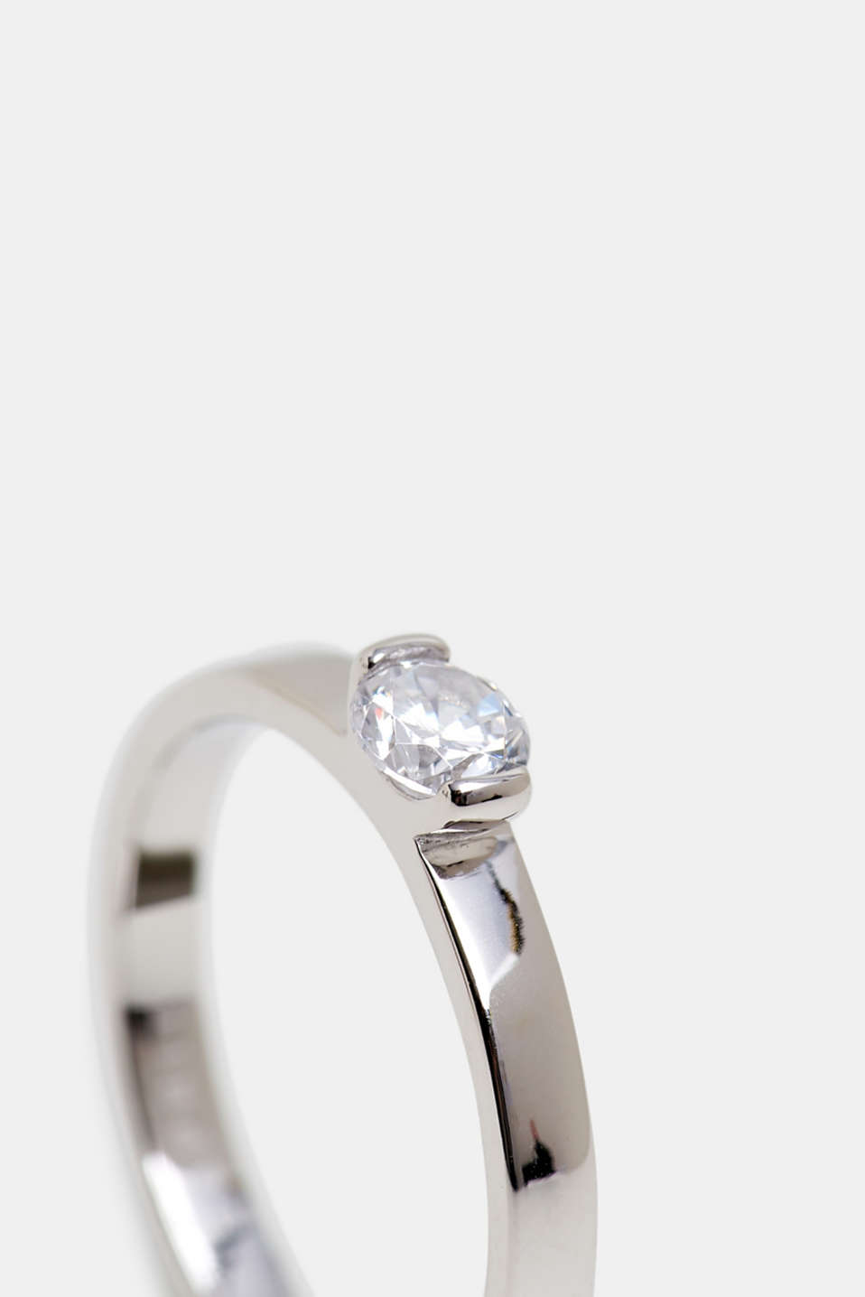 Ring with zirconia, sterling silver, SILVER, detail image number 1