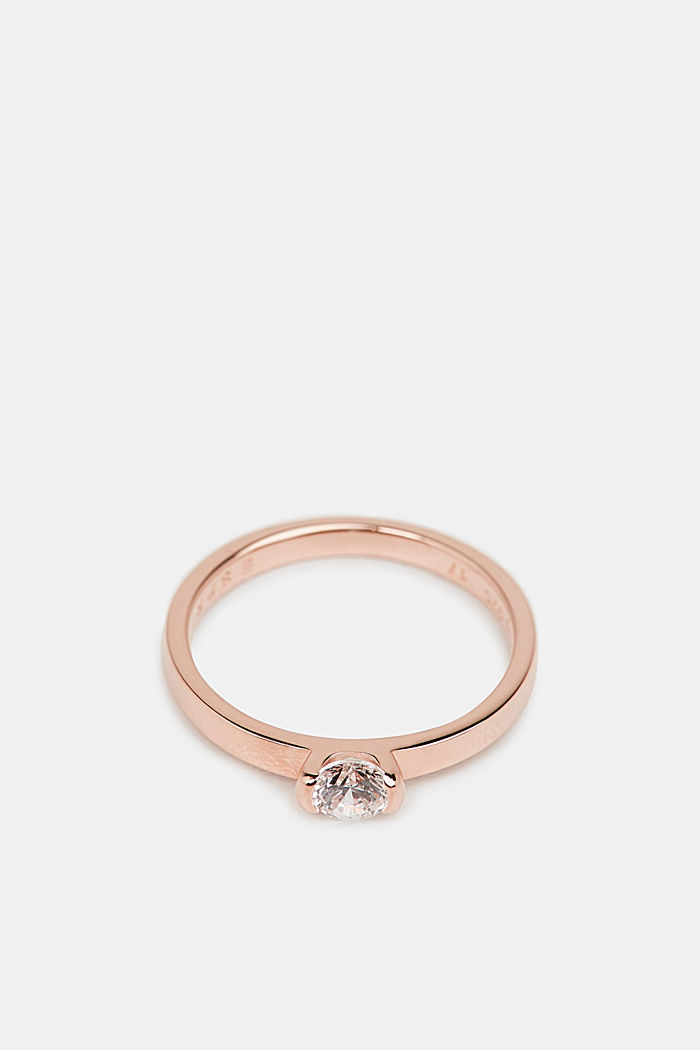 Rose gold ring with zirconia, made of silver, ROSEGOLD, detail image number 0