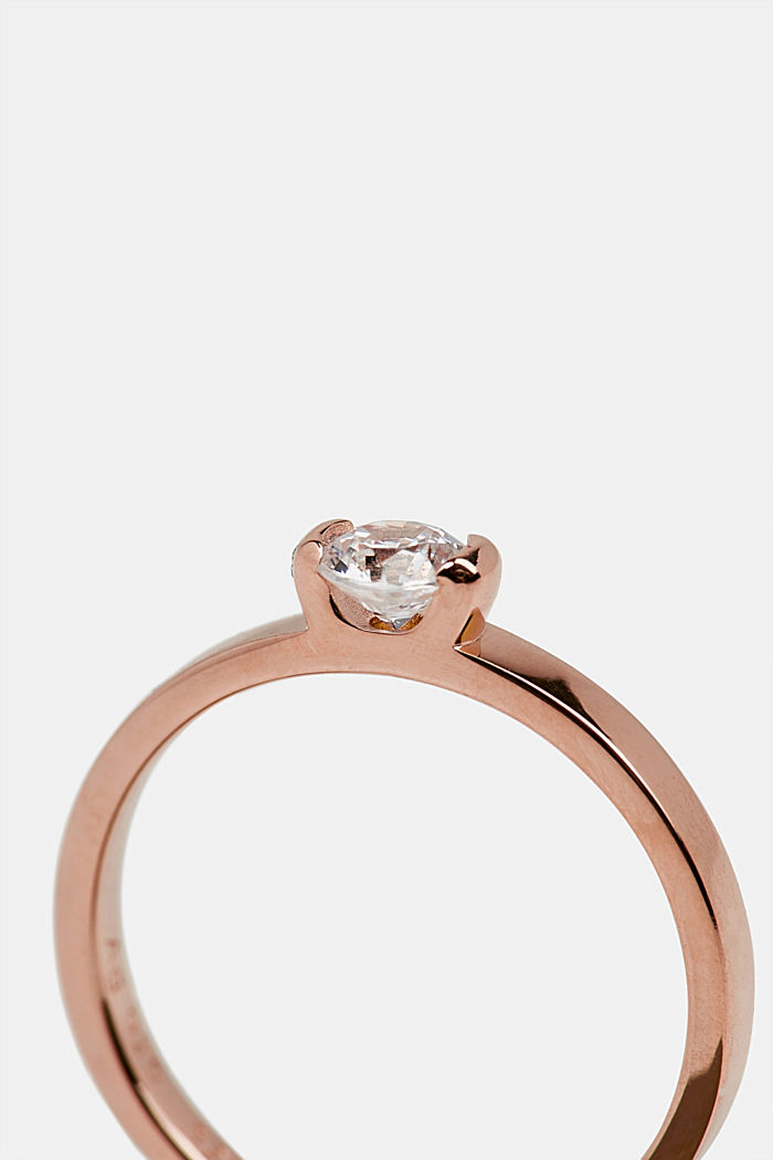 Rose gold ring with zirconia, made of silver, ROSEGOLD, detail image number 1