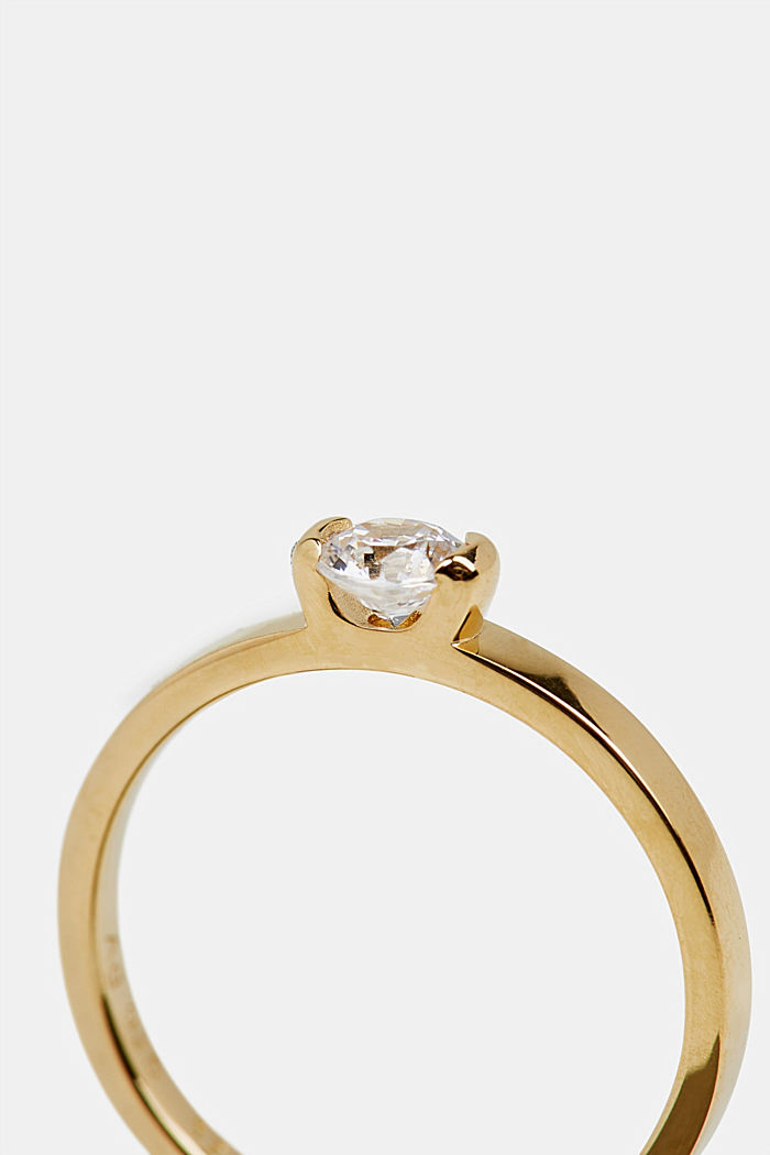 Ring with zirconia, sterling silver, GOLD, detail image number 1