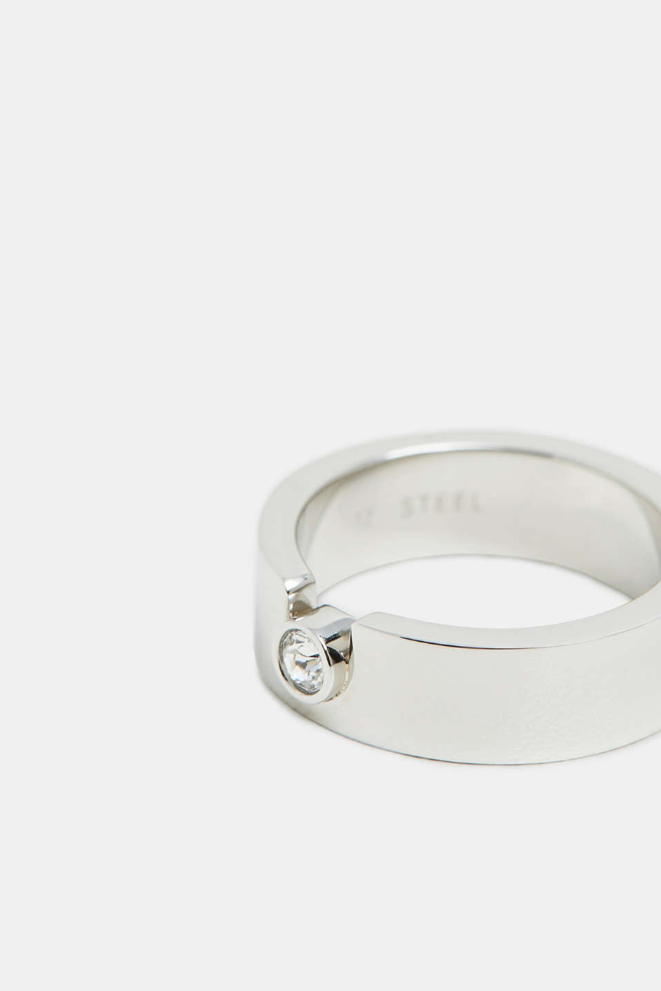 Ring with zirconia, in stainless steel, SILVER, detail image number 1