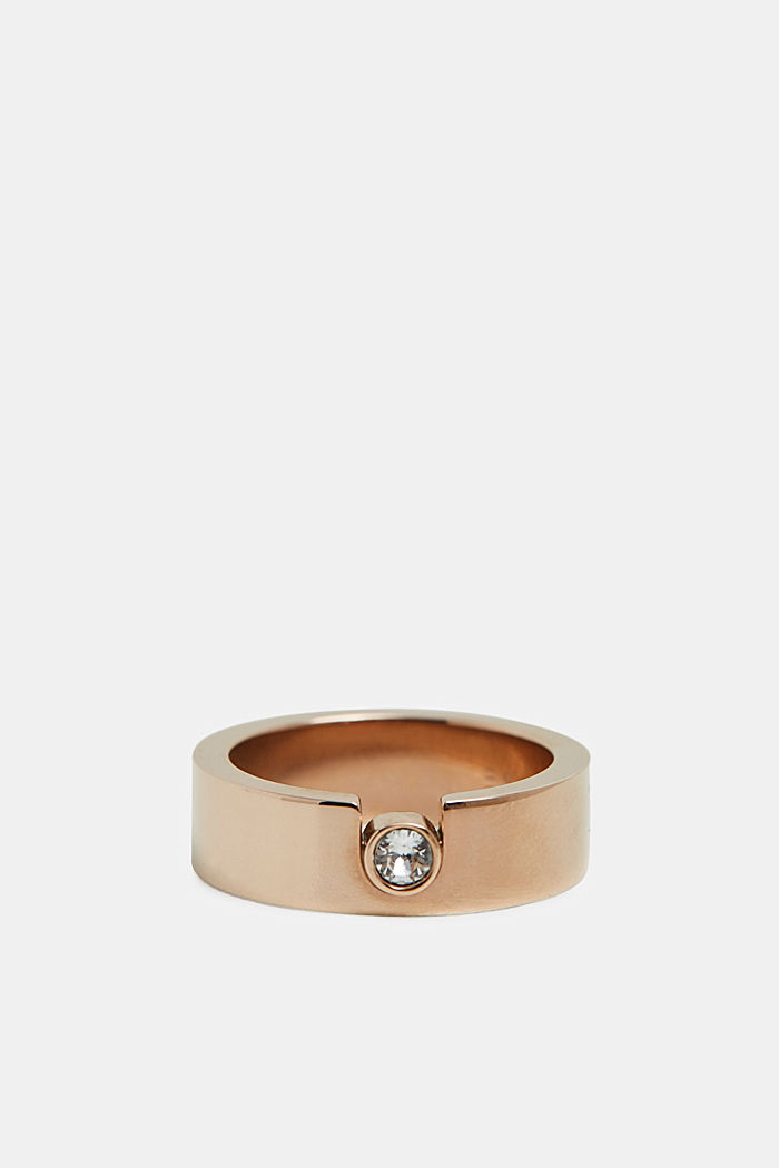 Ring with zirconia, in stainless steel