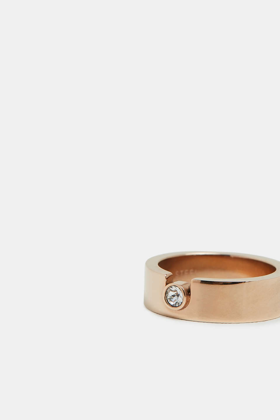 Ring with zirconia, in stainless steel, ROSEGOLD, detail image number 1