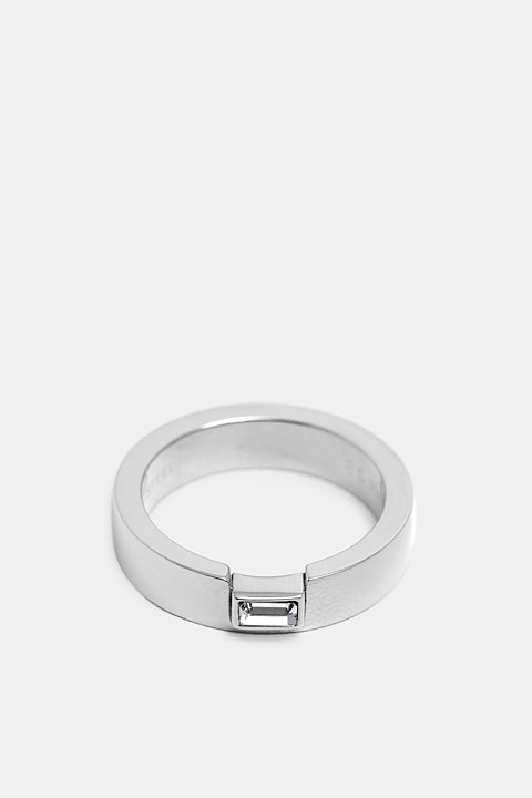 Stainless steel ring with baguette gemstone