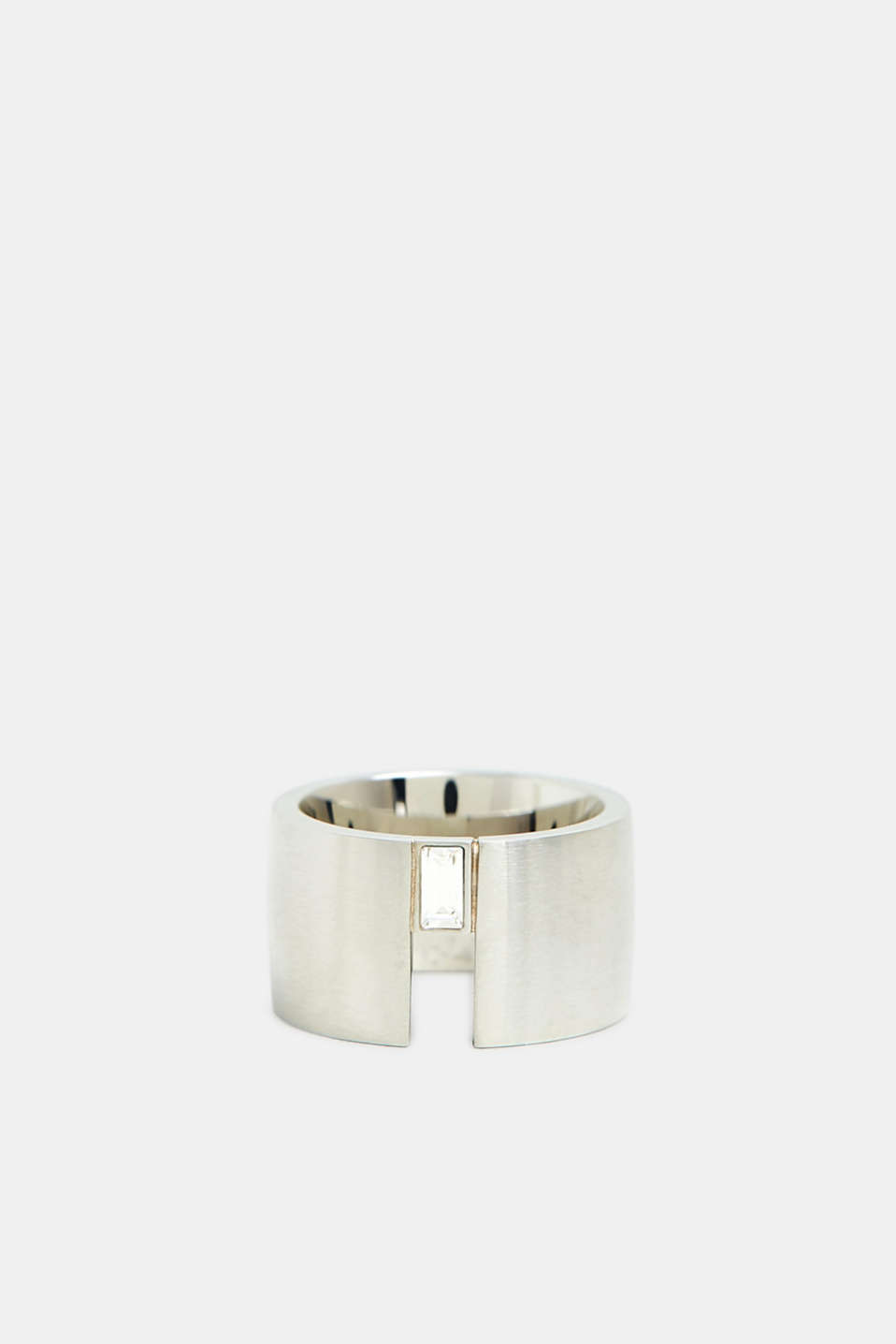 Stainless steel ring with baguette gemstone, SILVER, detail image number 0