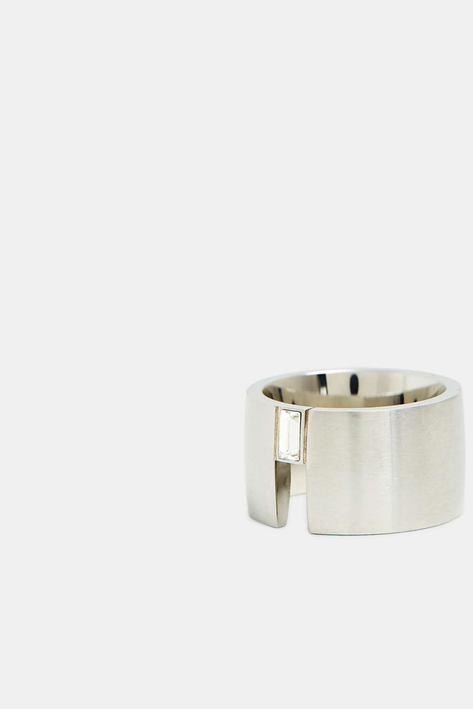 Stainless steel ring with baguette gemstone, SILVER, detail image number 1