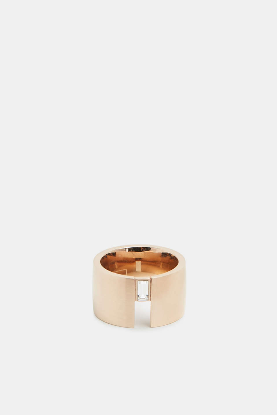 Stainless steel ring with baguette gemstone, ROSEGOLD, detail image number 0