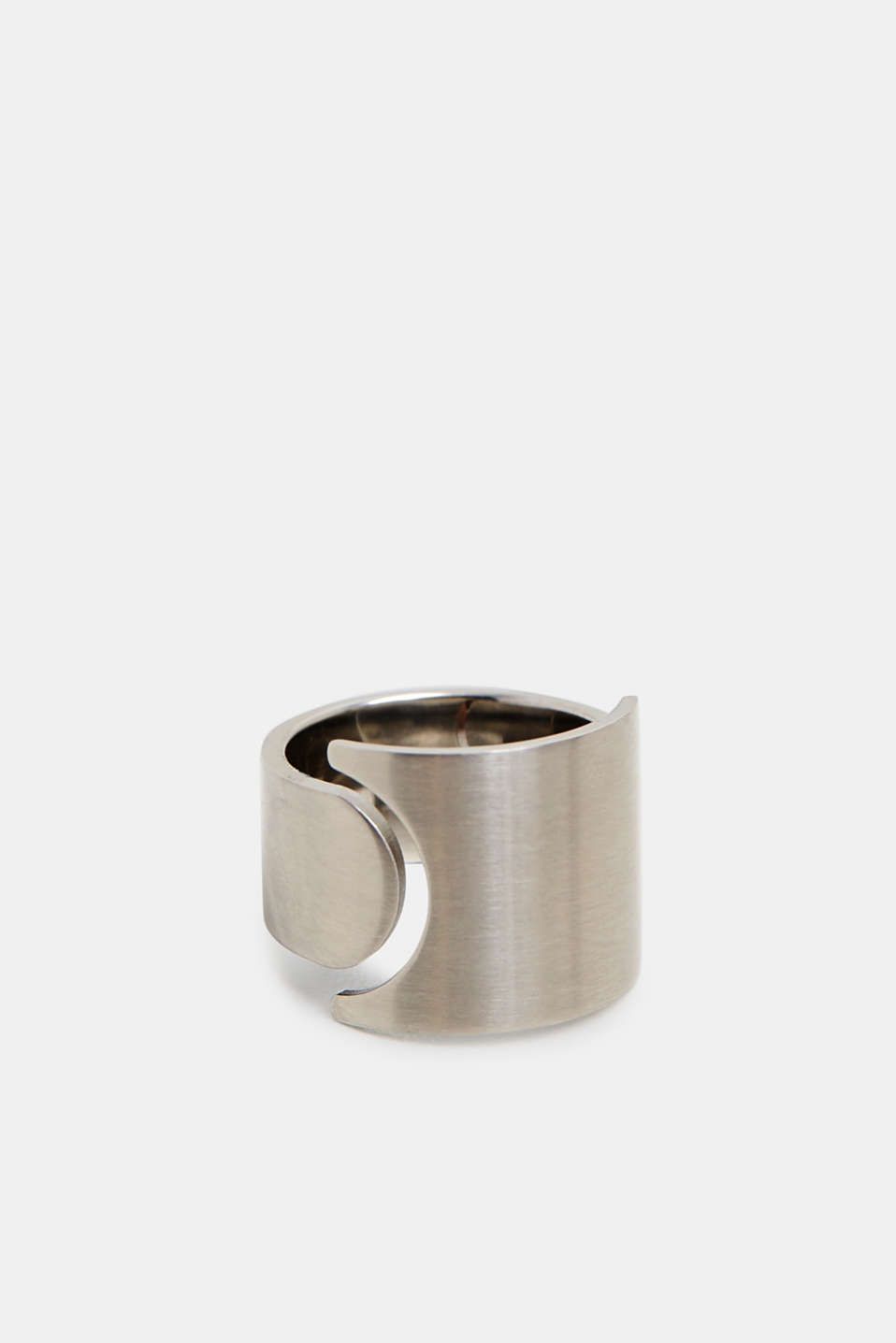Stainless steel statement ring, SILVER, detail image number 1