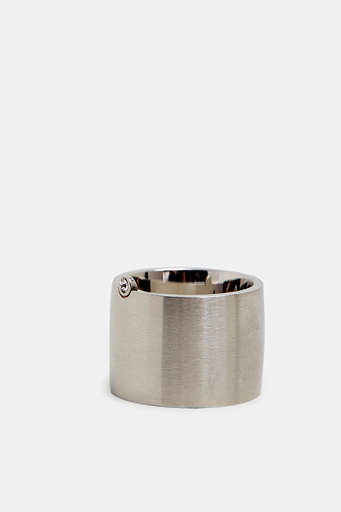 Statement ring with zirconia, made of stainless steel, SILVER, detail image number 1