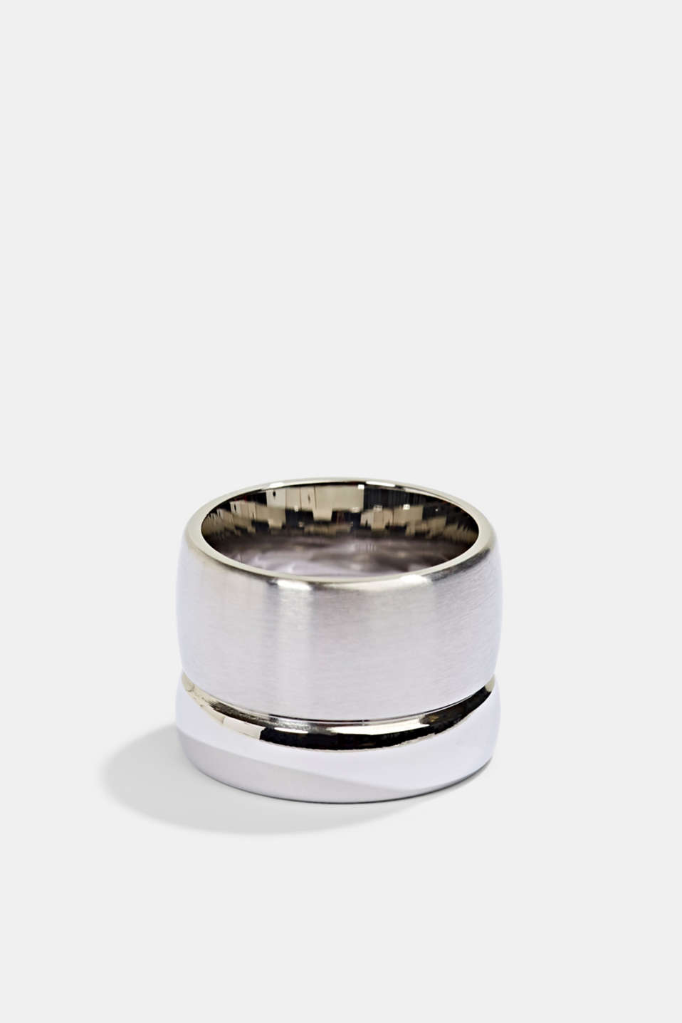 Stainless steel statement ring, SILVER, detail image number 0