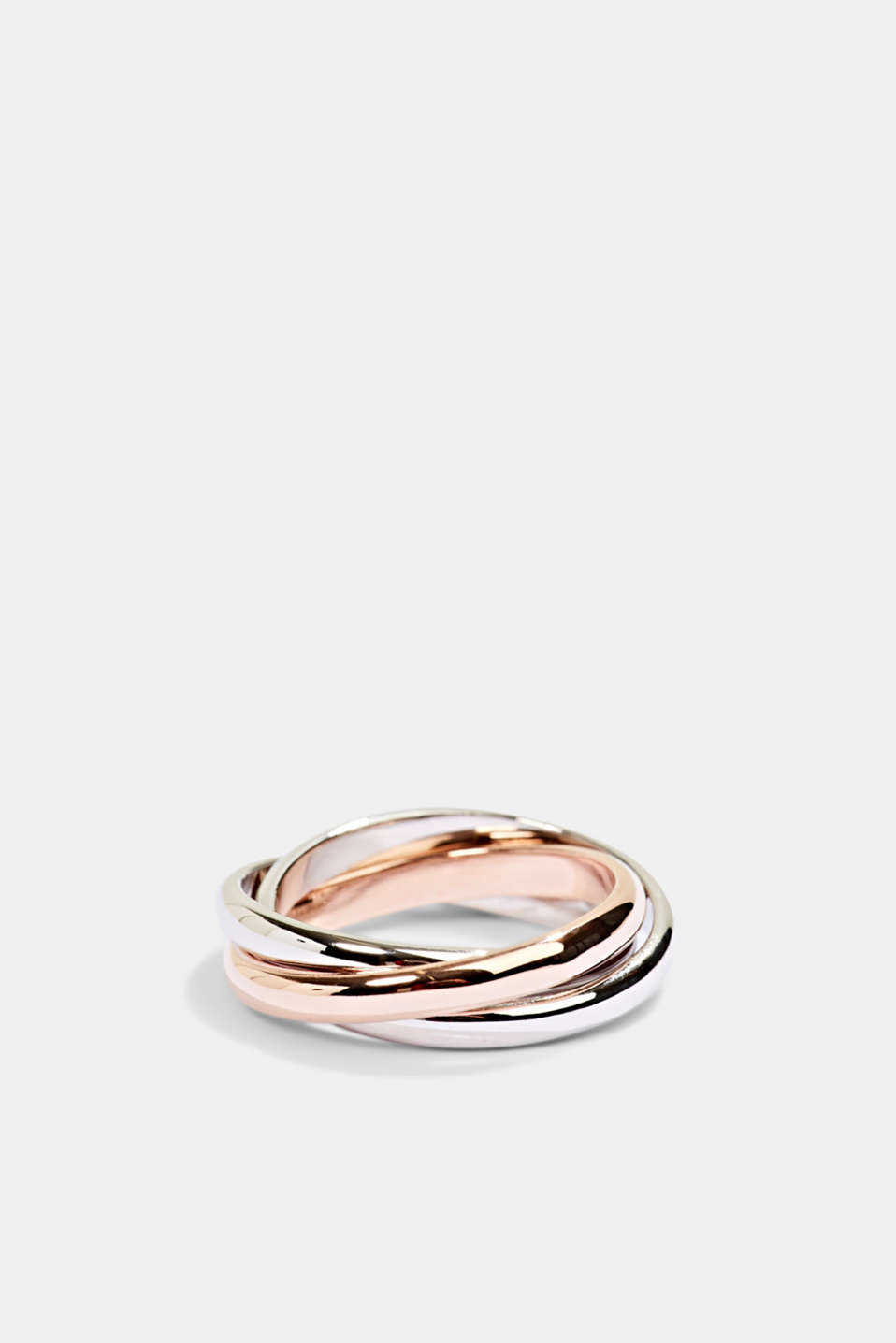 Ring trio in sterling silver, ROSEGOLD, detail