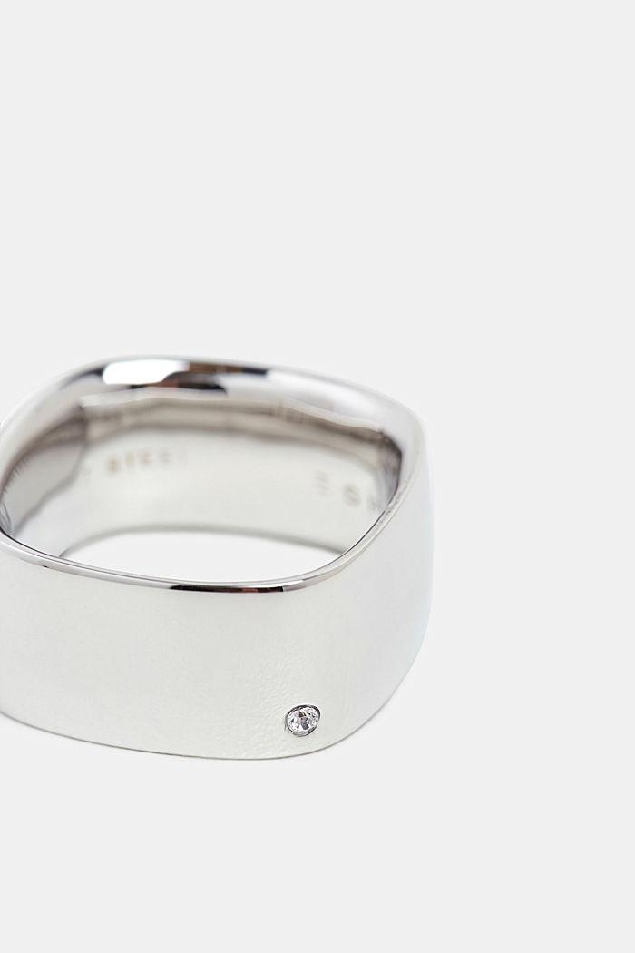 Brede ring met zirkonia, edelstaal