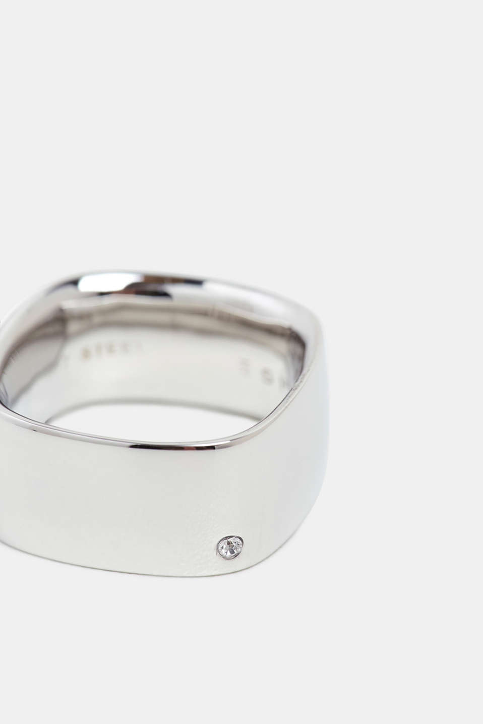 Wide ring with a zirconia trim, stainless steel, SILVER, detail image number 1
