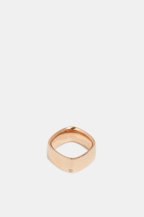 Rose gold tone ring set with zirconia