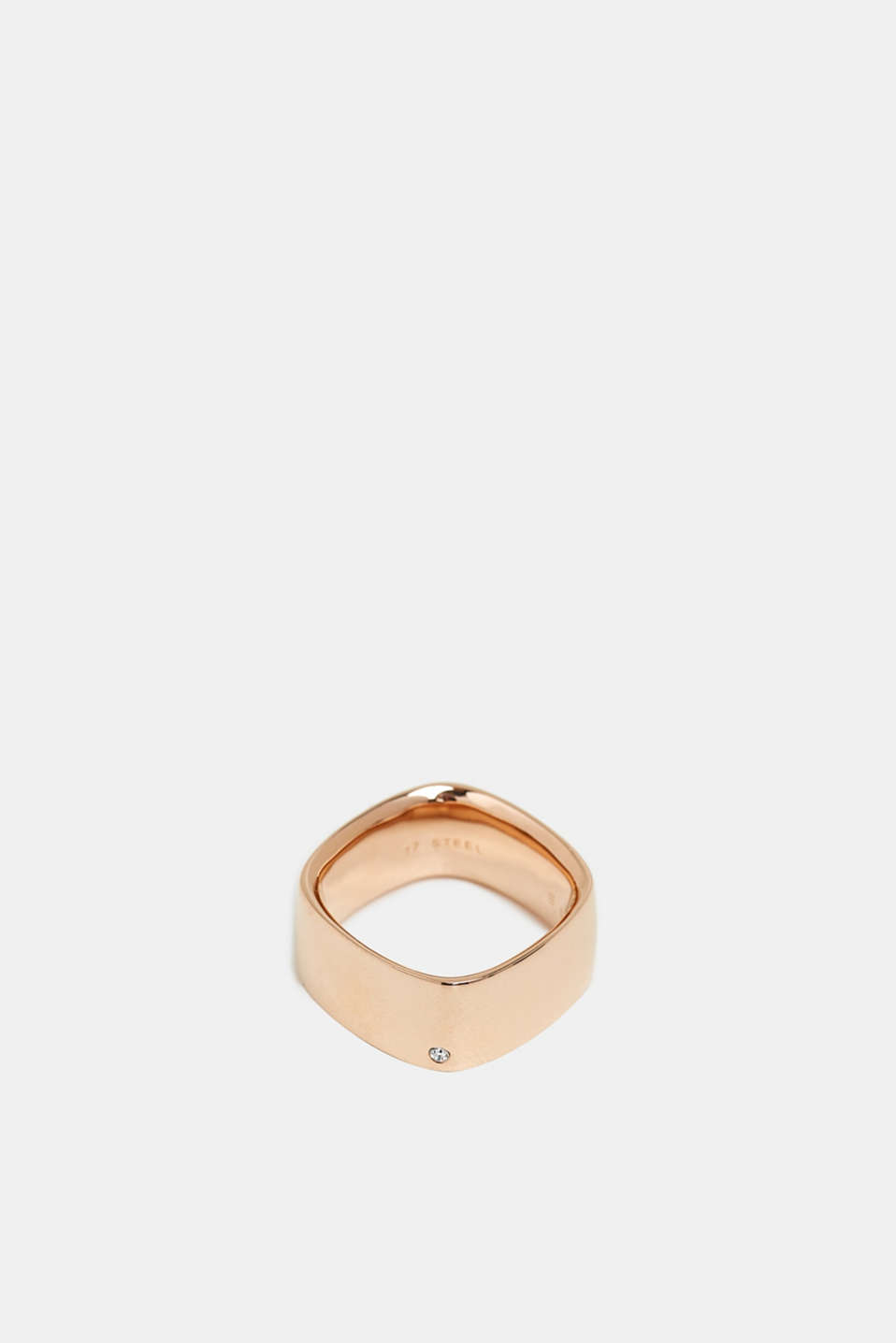 Rose gold tone ring set with zirconia, ROSEGOLD, detail image number 0