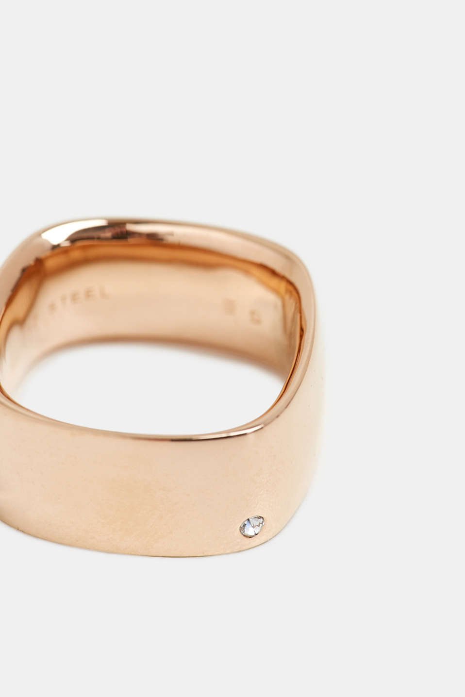 Rose gold tone ring set with zirconia, ROSEGOLD, detail image number 1