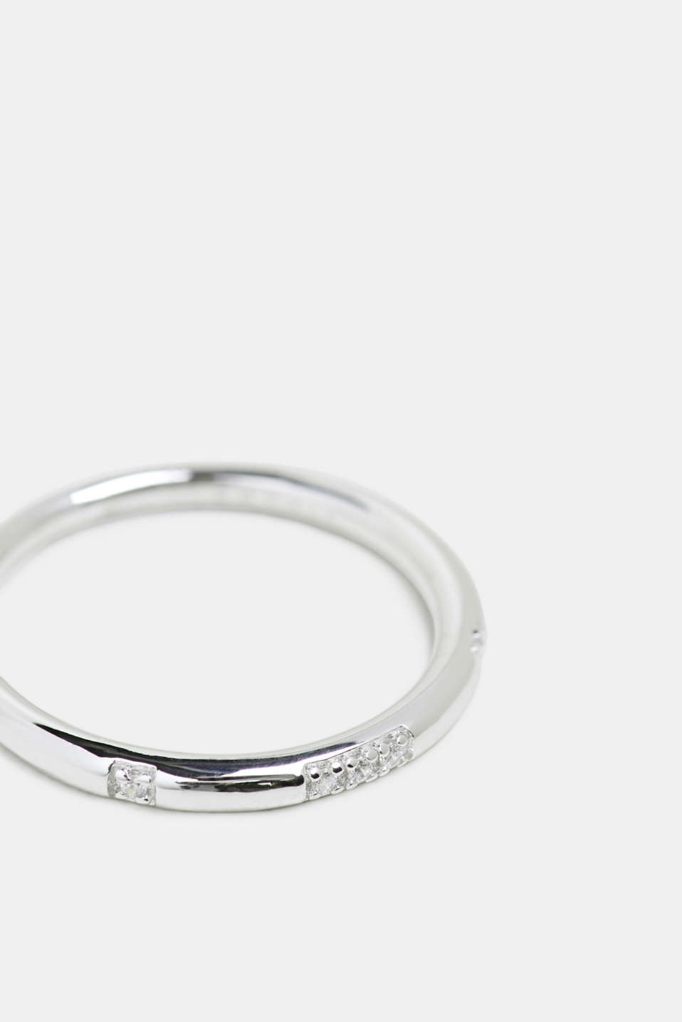 Stainless-steel ring decorated with zirconia, SILVER, detail image number 0