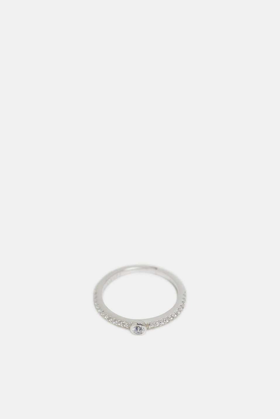 Sterling silver ring trimmed with zirconia, SILVER, detail image number 1
