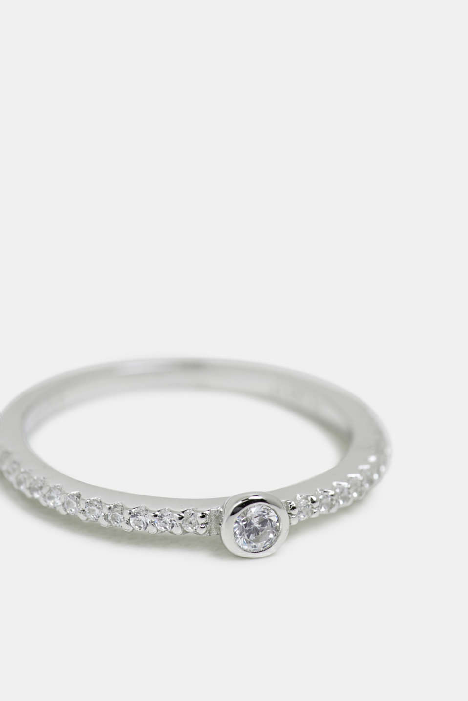Sterling silver ring trimmed with zirconia, SILVER, detail image number 0