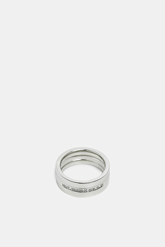 Edelstalen driedelige ring, met zirkonia, SILVER, detail image number 1