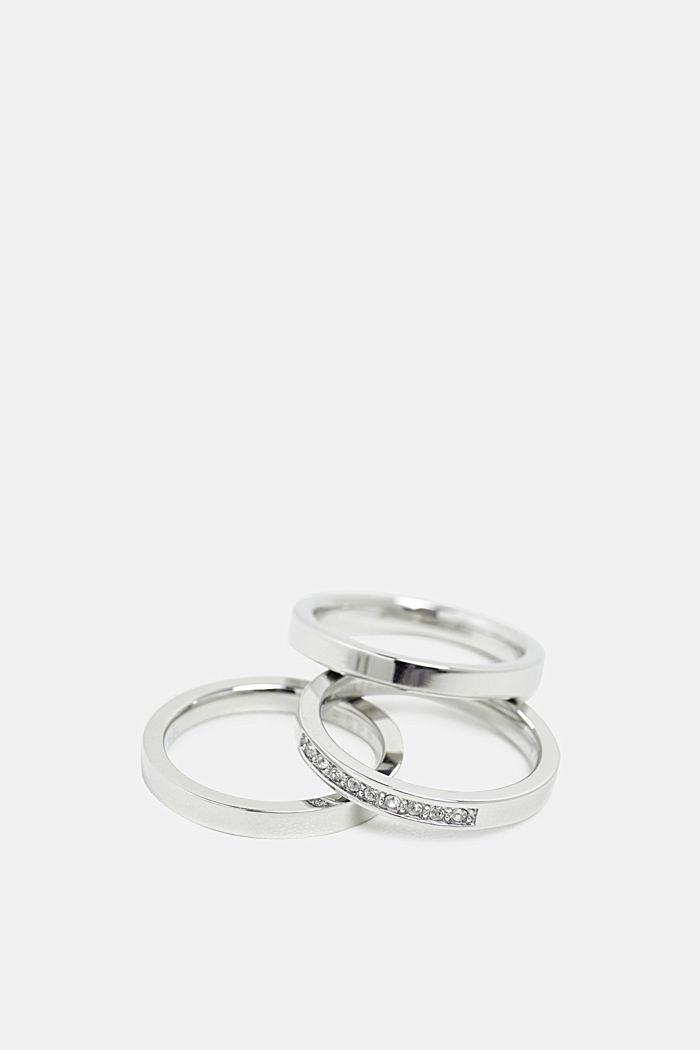 Edelstalen driedelige ring, met zirkonia, SILVER, detail image number 0
