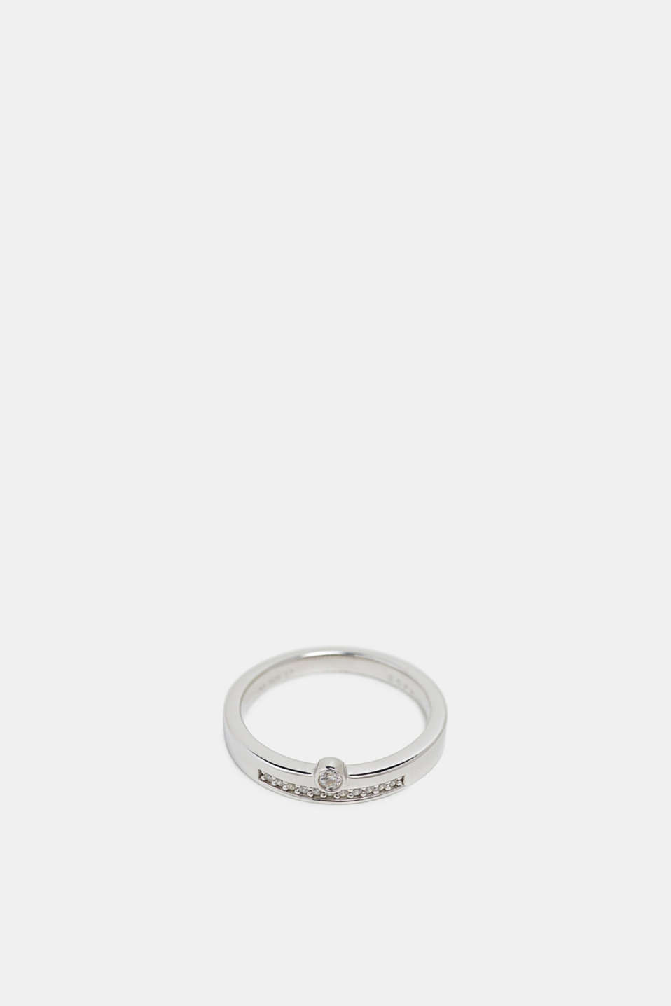 Stainless-steel ring trimmed with different zirconia stones, SILVER, detail image number 1