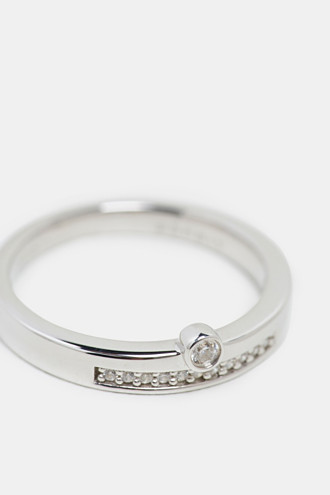 Stainless-steel ring trimmed with different zirconia stones