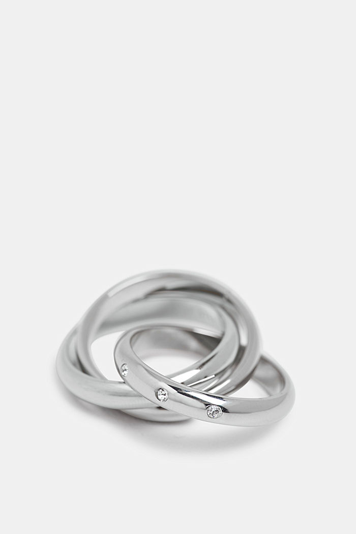 Stainless-steel Russian ring trimmed with zirconia