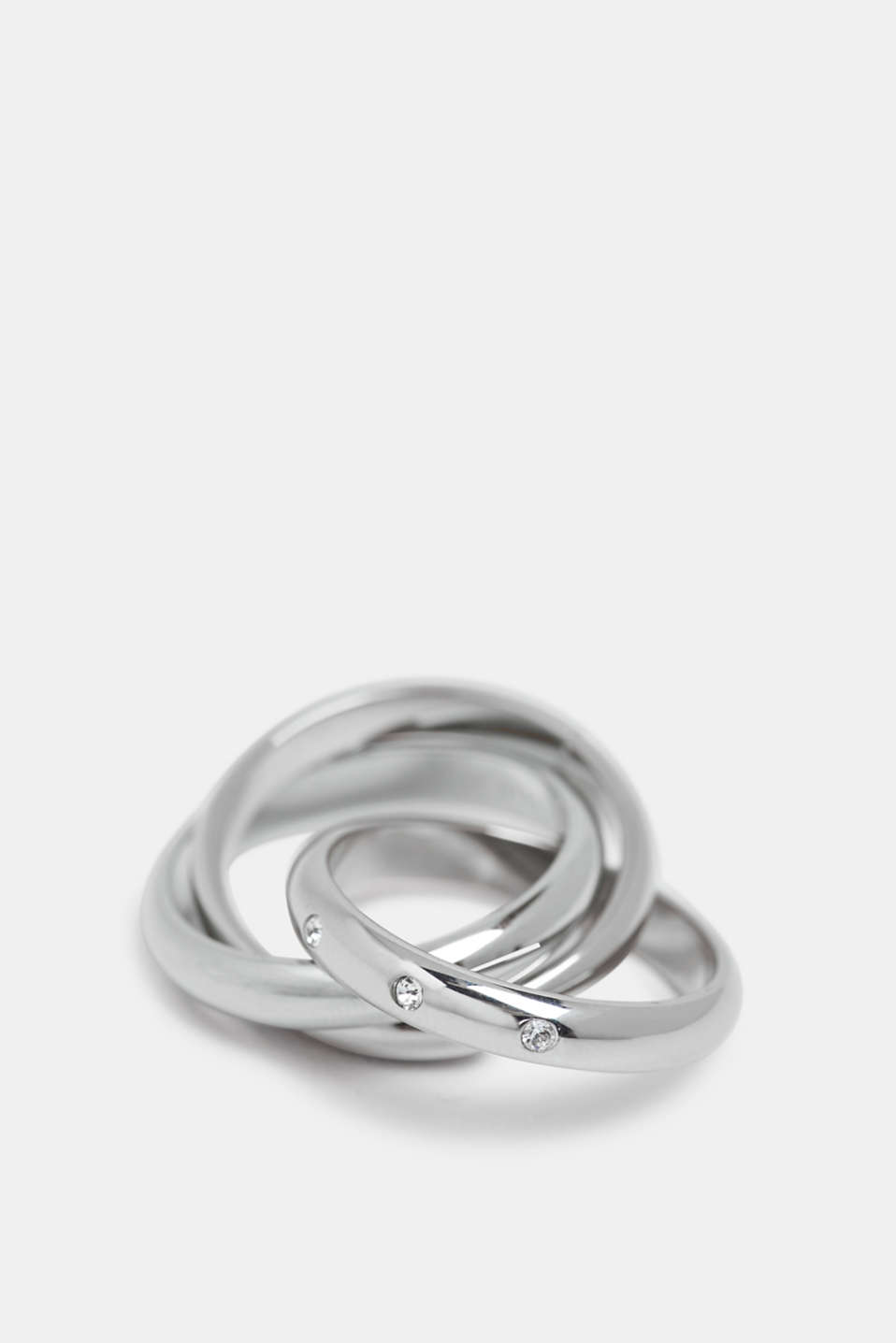 Stainless-steel Russian ring trimmed with zirconia, SILVER, detail image number 1