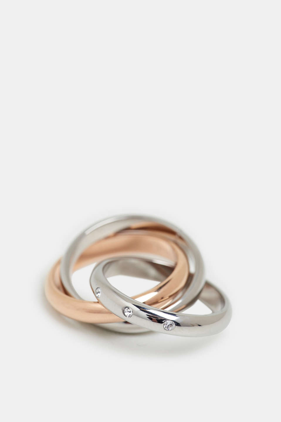 Stainless steel ring trio, ROSEGOLD, detail image number 1