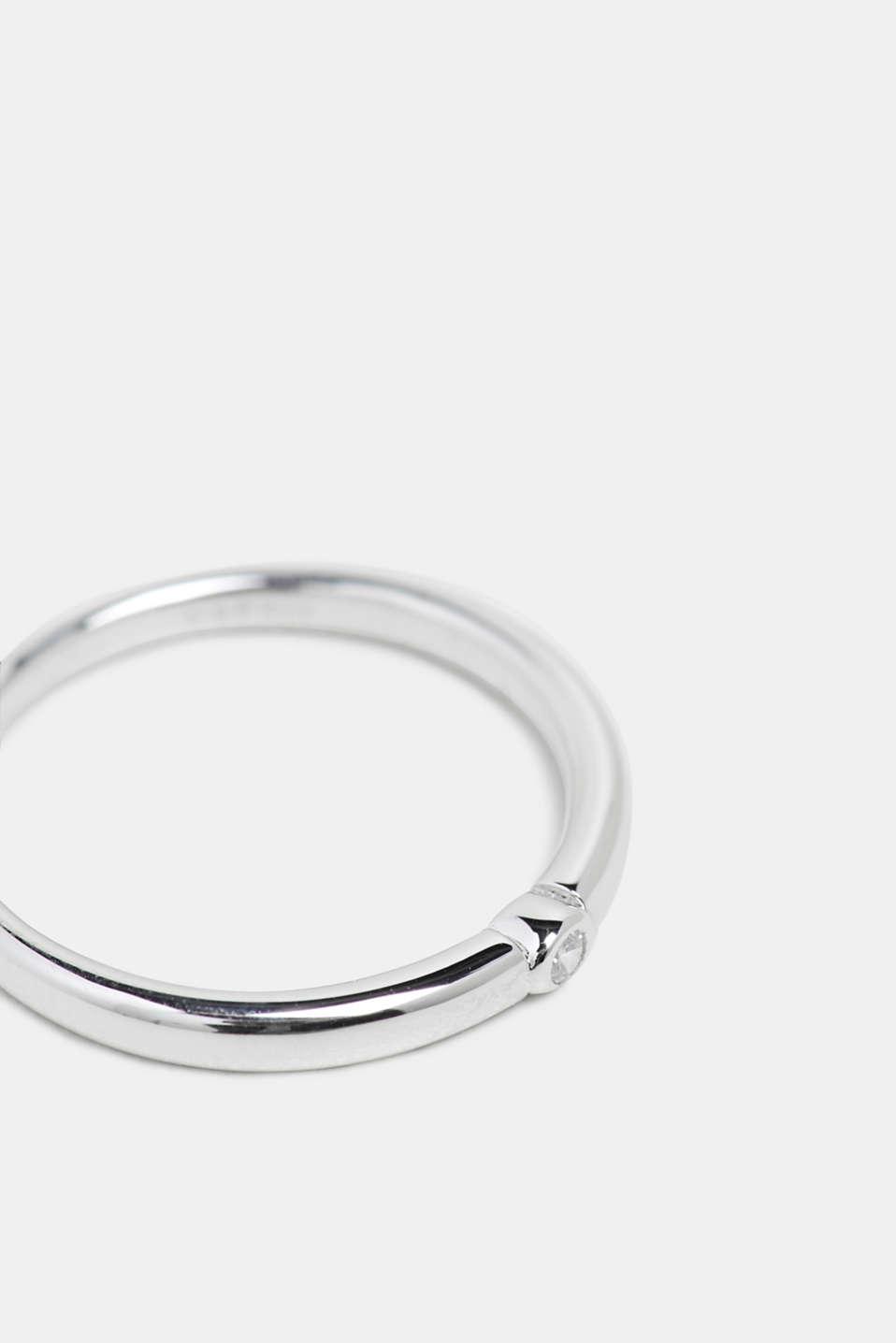 Ring mit Zirkonia, Edelstahl, SILVER, detail image number 1