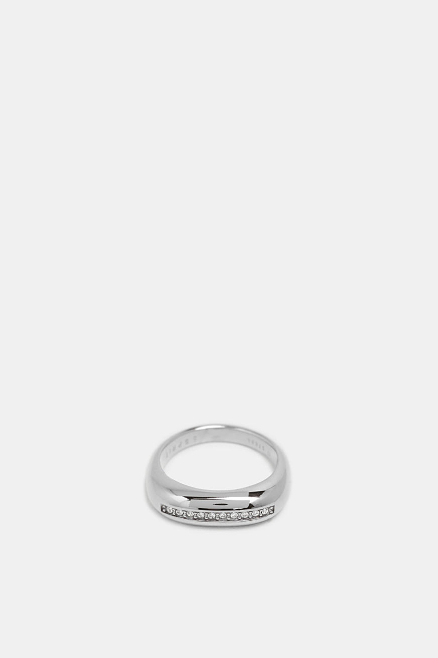 Ring with a row of zirconia, stainless steel