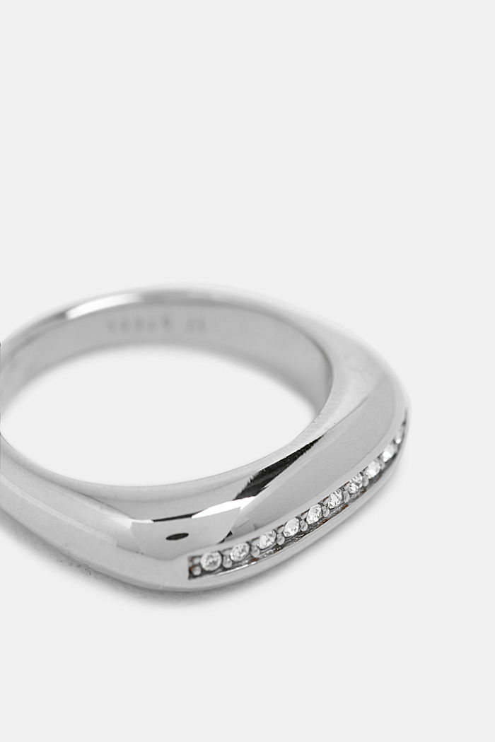 Ring with a row of zirconia, stainless steel, SILVER, detail image number 1