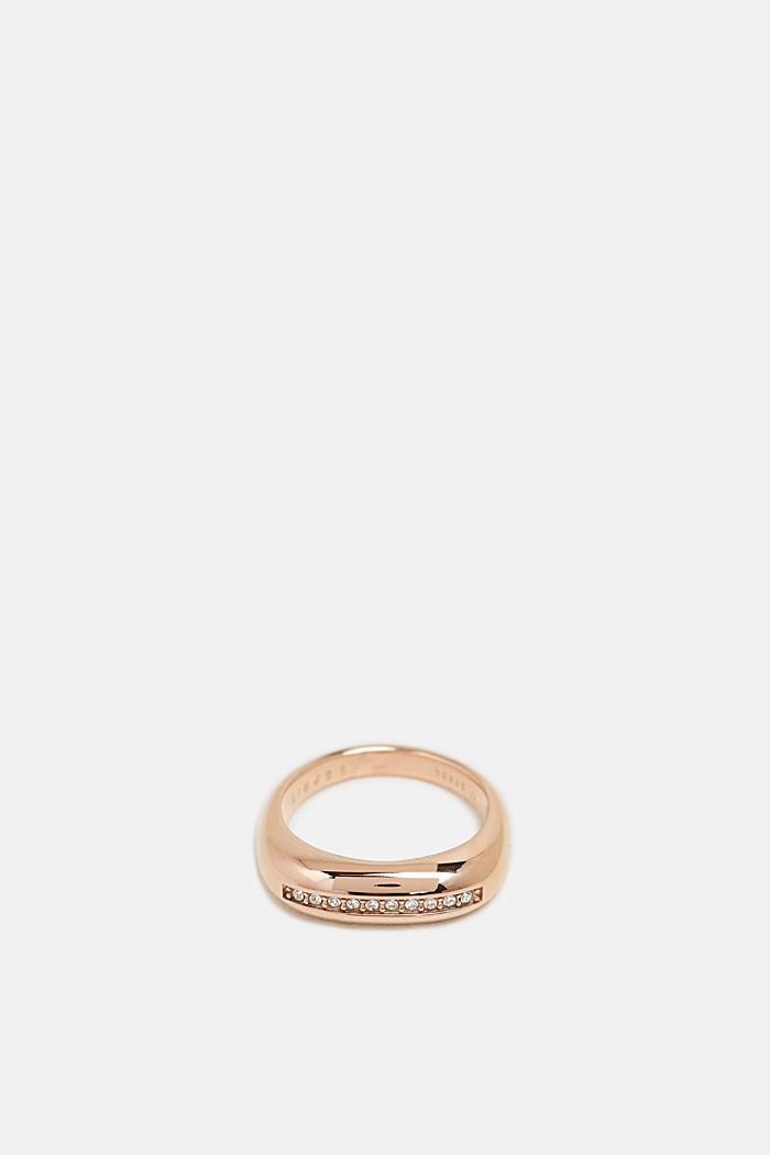 Rose gold ring with a row of zirconia, stainless steel