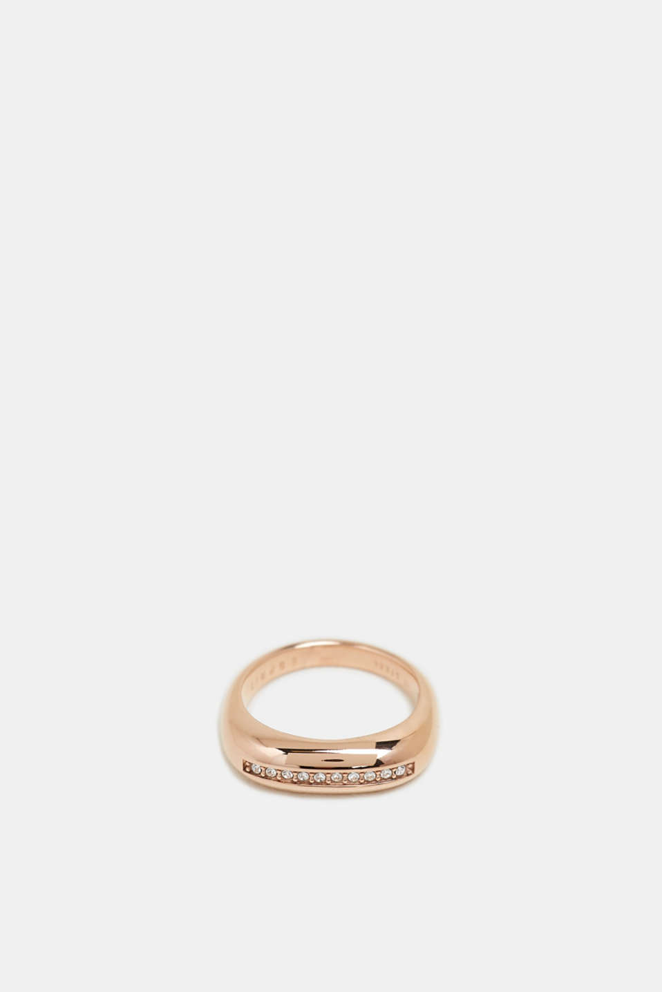 Rose gold ring with a row of zirconia, stainless steel, ROSEGOLD, detail image number 1