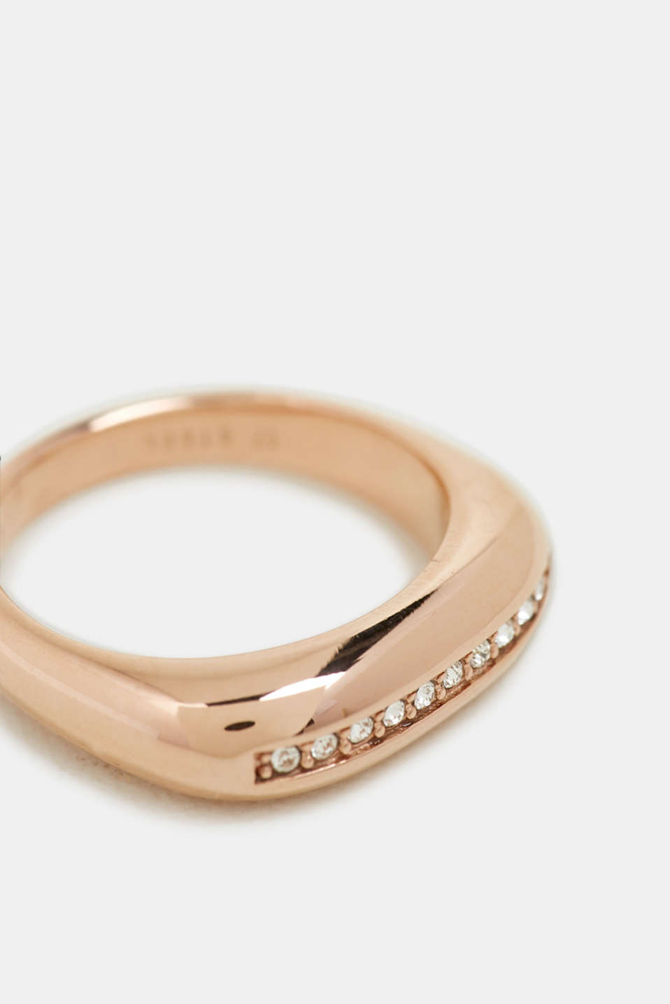 Rose gold ring with a row of zirconia, stainless steel, ROSEGOLD, detail image number 0