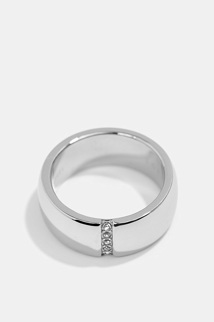 Ring with a row of zirconia, stainless steel, SILVER, detail image number 0