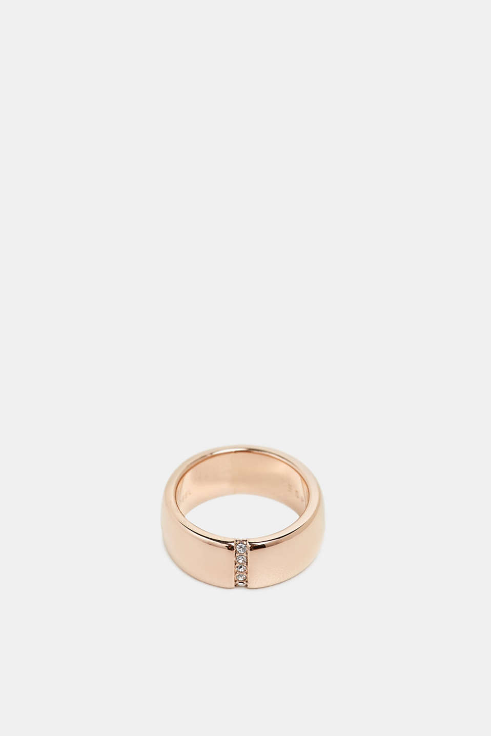 Ring with a row of zirconia, stainless steel, ROSEGOLD, detail image number 1