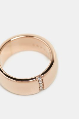 Ring with a row of zirconia, stainless steel, ROSEGOLD, detail