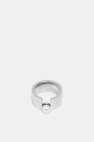 Wide ring with beads, stainless steel