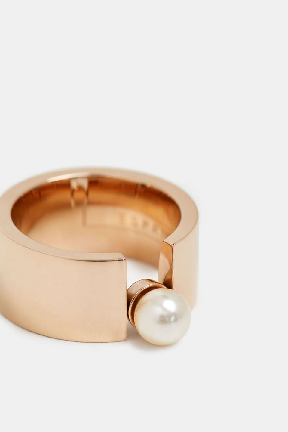 Wide ring with beads, stainless steel, ROSEGOLD, detail image number 1
