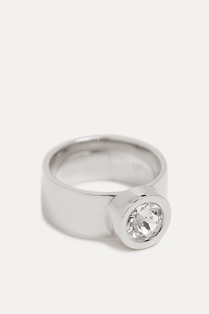 Wide stainless-steel ring trimmed with zirconia