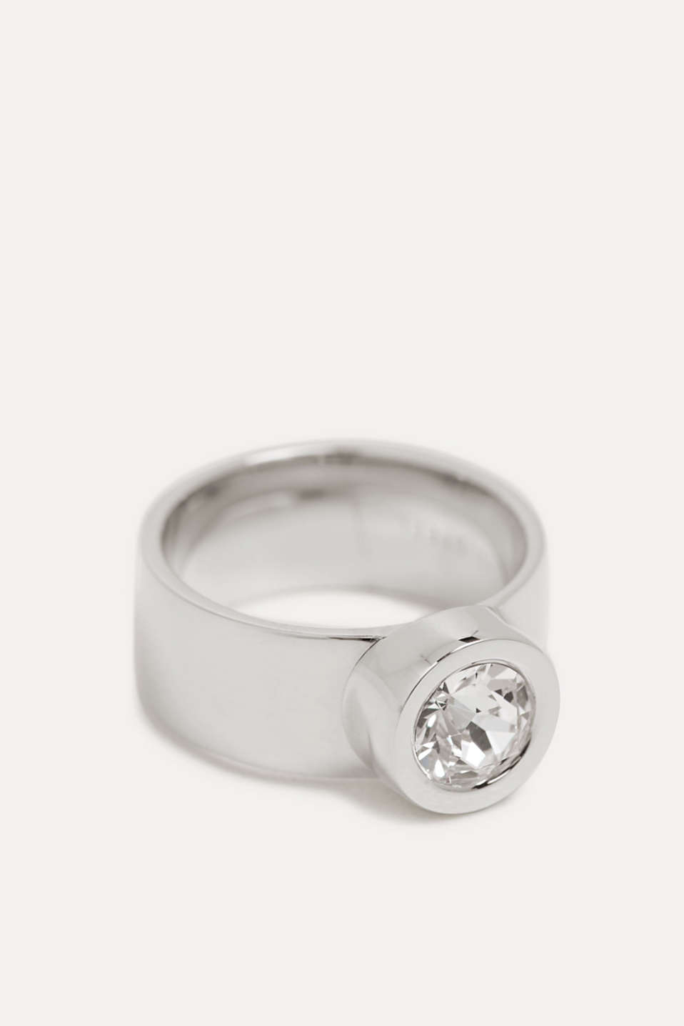 Esprit - Wide stainless-steel ring trimmed with zirconia