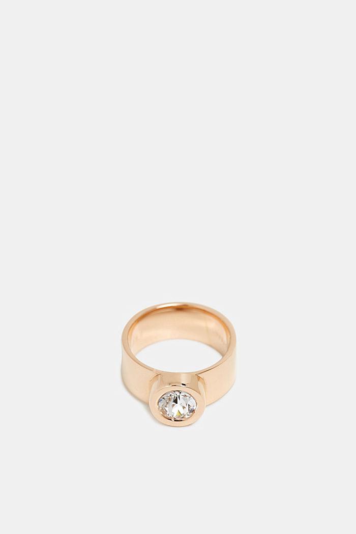 Breiter Ring mit Zirkonia, Edelstahl, GOLD, detail image number 1