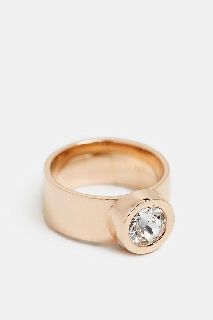 Breiter Ring mit Zirkonia, Edelstahl, GOLD, detail image number 0